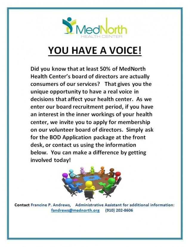 MedNorth Announces BOD Vacancies